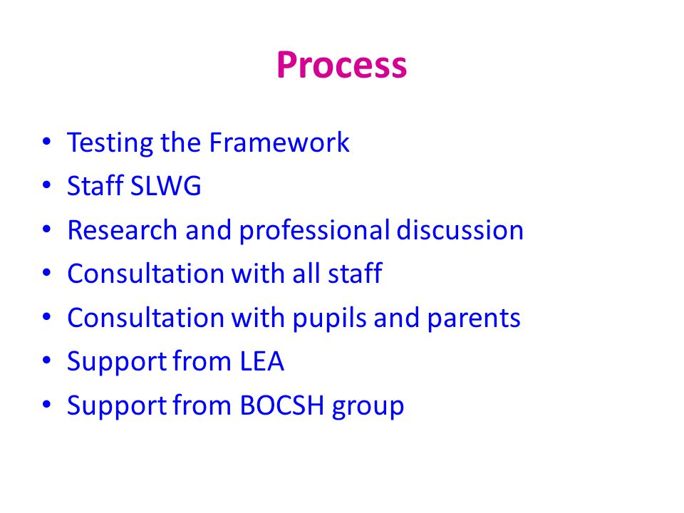 Process Testing the Framework Staff SLWG