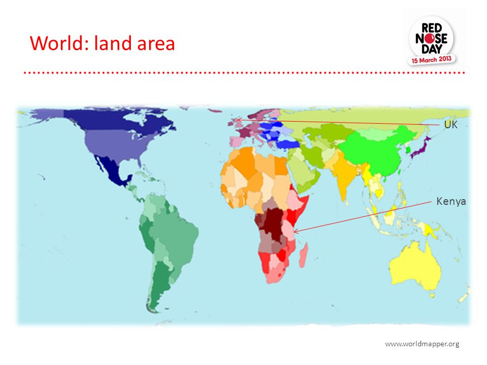 World: land area UK Kenya