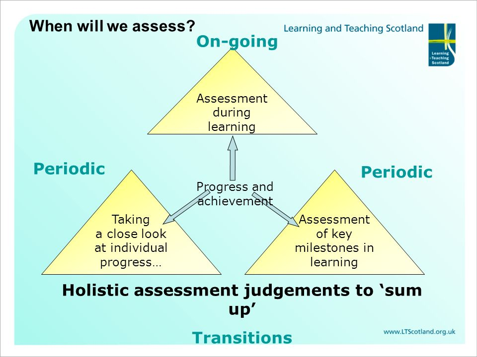 Holistic assessment judgements to 'sum up'