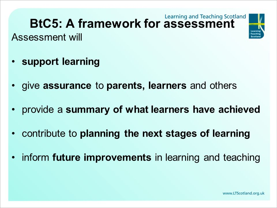 BtC5: A framework for assessment