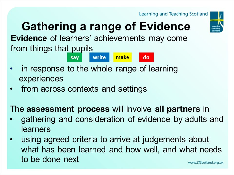 Gathering a range of Evidence