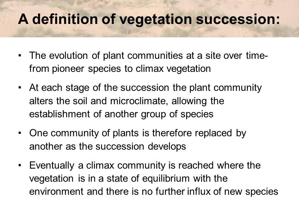 A definition of vegetation succession: