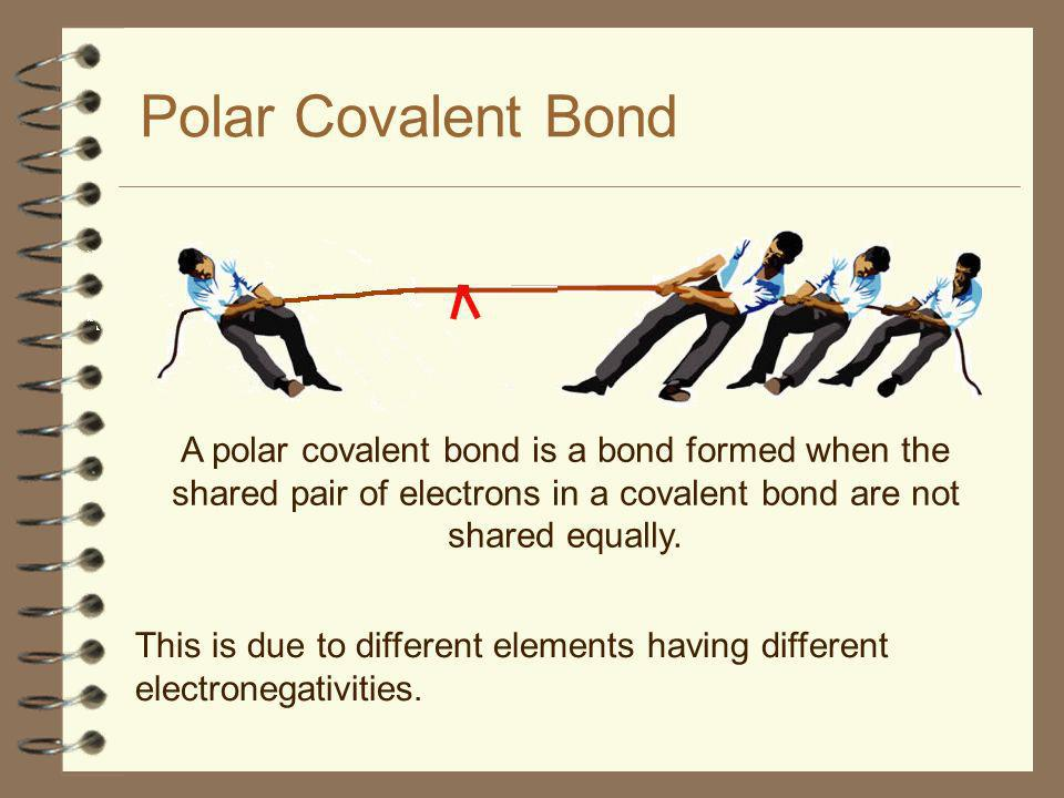 Polar Covalent Bond A polar covalent bond is a bond formed when the shared pair of electrons in a covalent bond are not shared equally.
