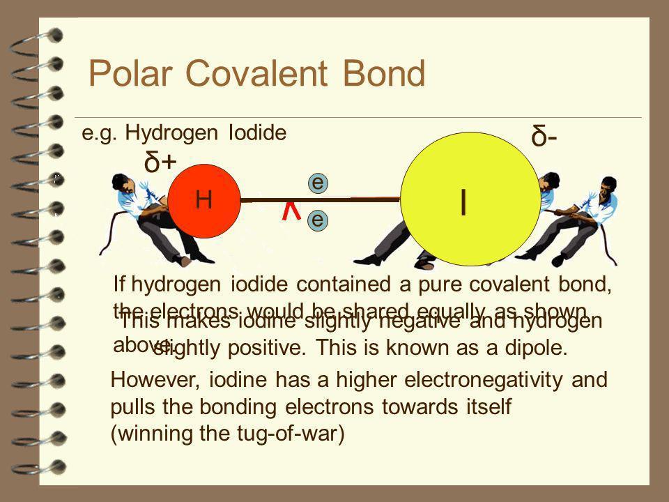 Polar Covalent Bond I δ- δ+ H e.g. Hydrogen Iodide e