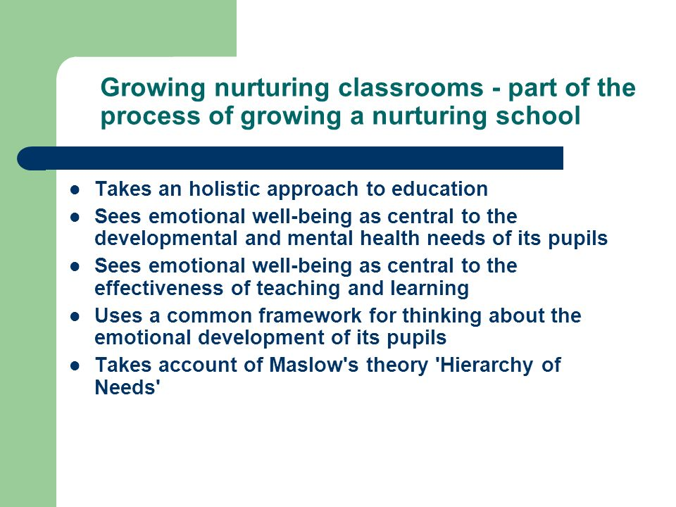 Growing nurturing classrooms - part of the process of growing a nurturing school