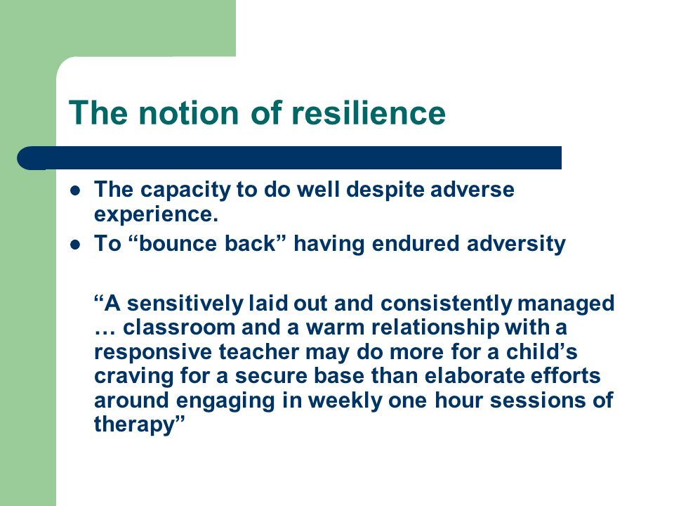 The notion of resilience