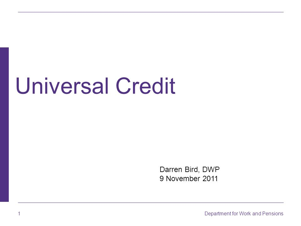 Darren Bird, DWP 9 November 2011