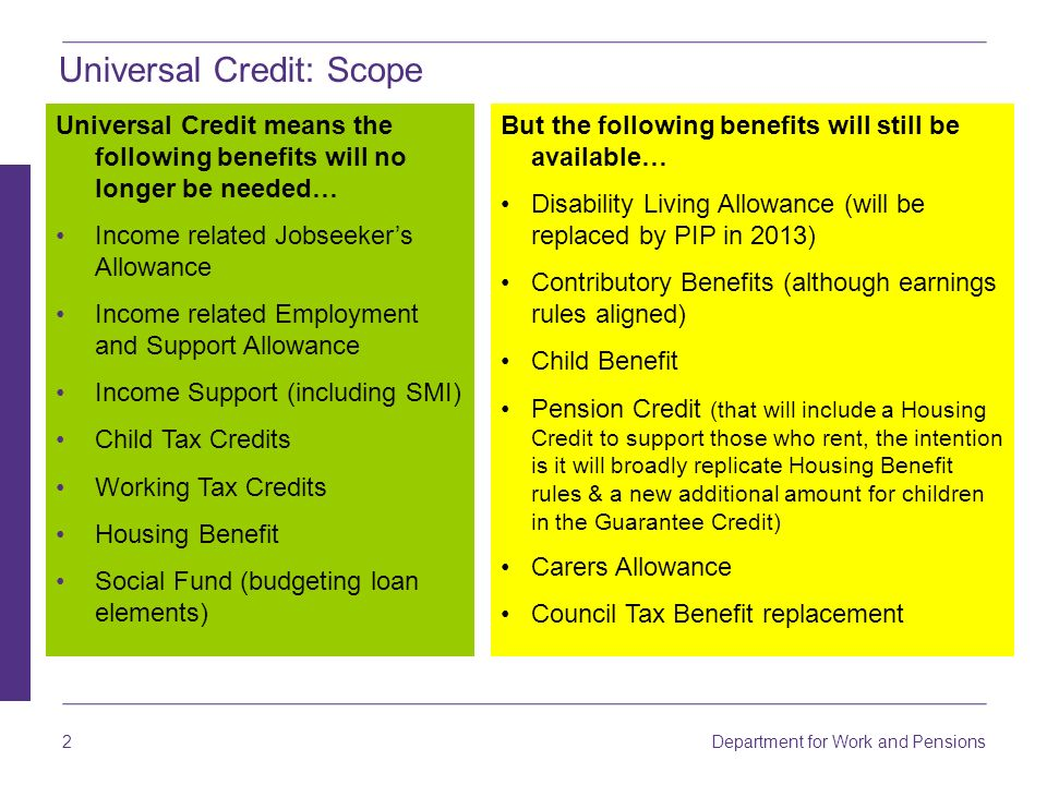 Universal Credit: Scope