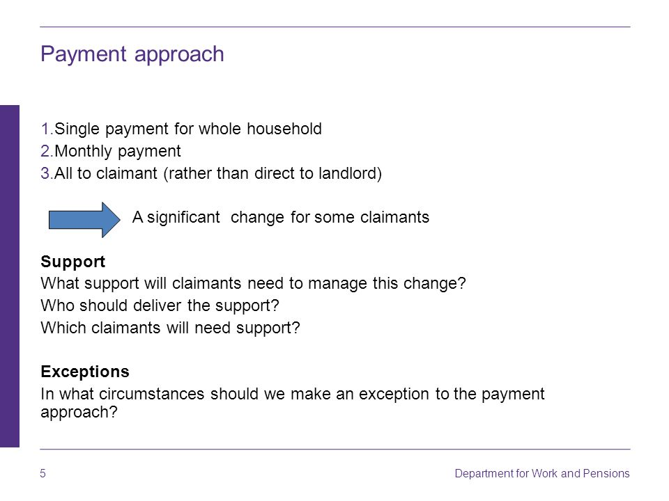 Payment approach Single payment for whole household Monthly payment