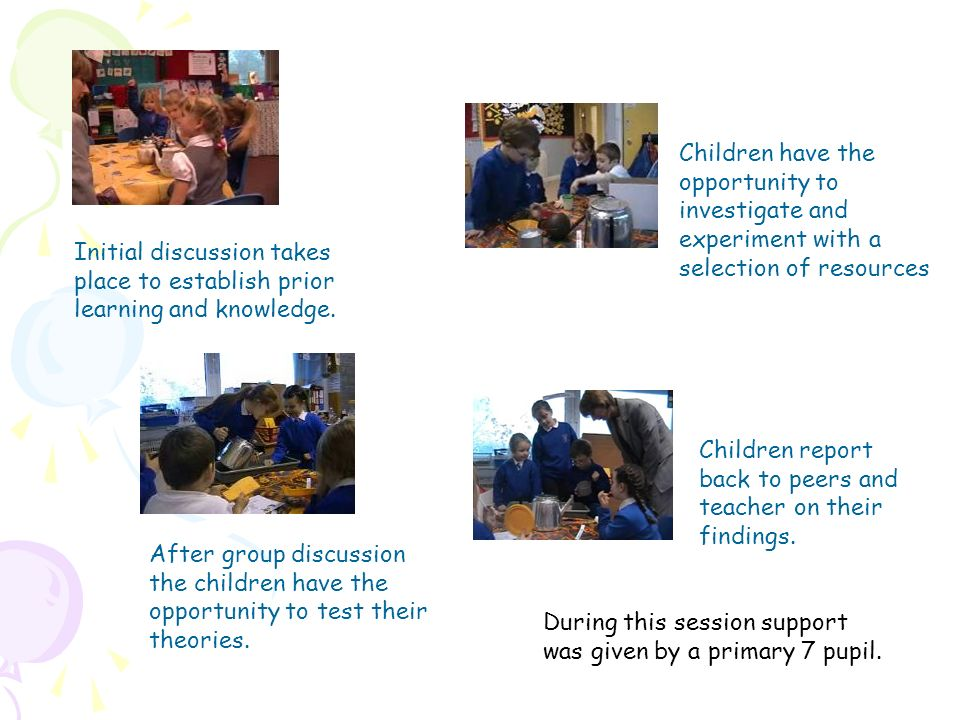 Children have the opportunity to. investigate and. experiment with a. selection of resources. Initial discussion takes.