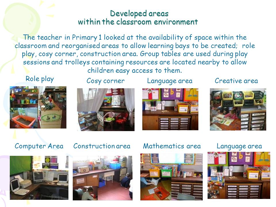 Developed areas within the classroom environment