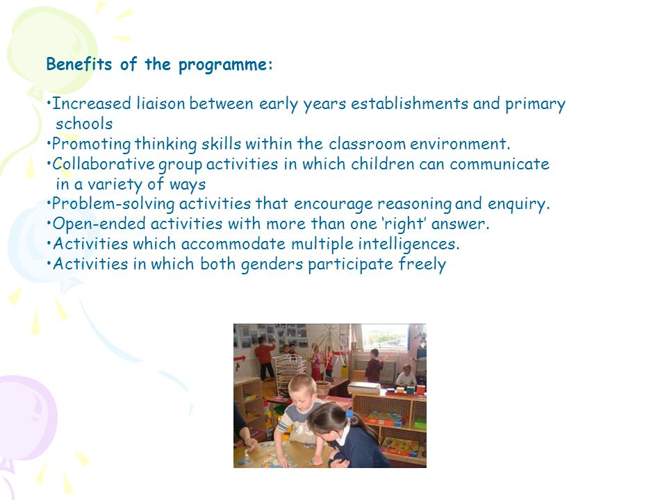 Benefits of the programme: