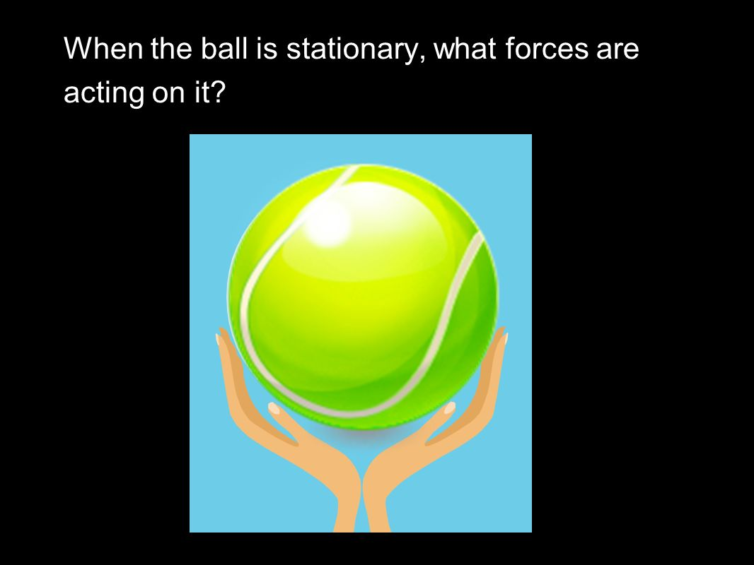 When the ball is stationary, what forces are acting on it