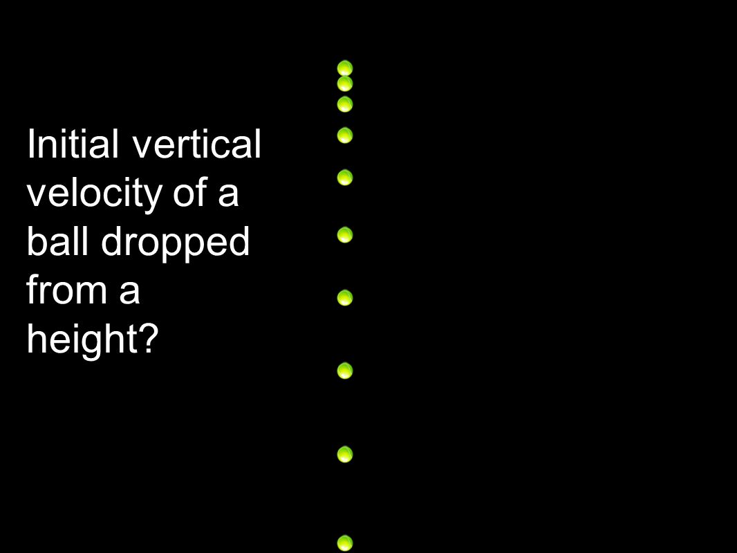 Initial vertical velocity of a ball dropped from a height