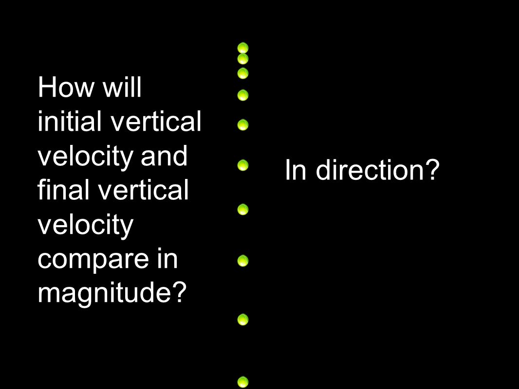 How will initial vertical velocity and final vertical velocity compare in magnitude