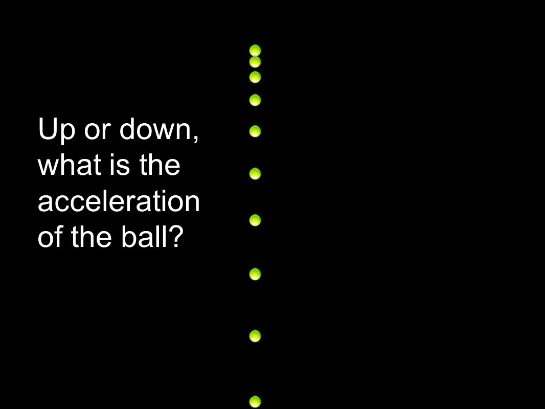 Up or down, what is the acceleration of the ball