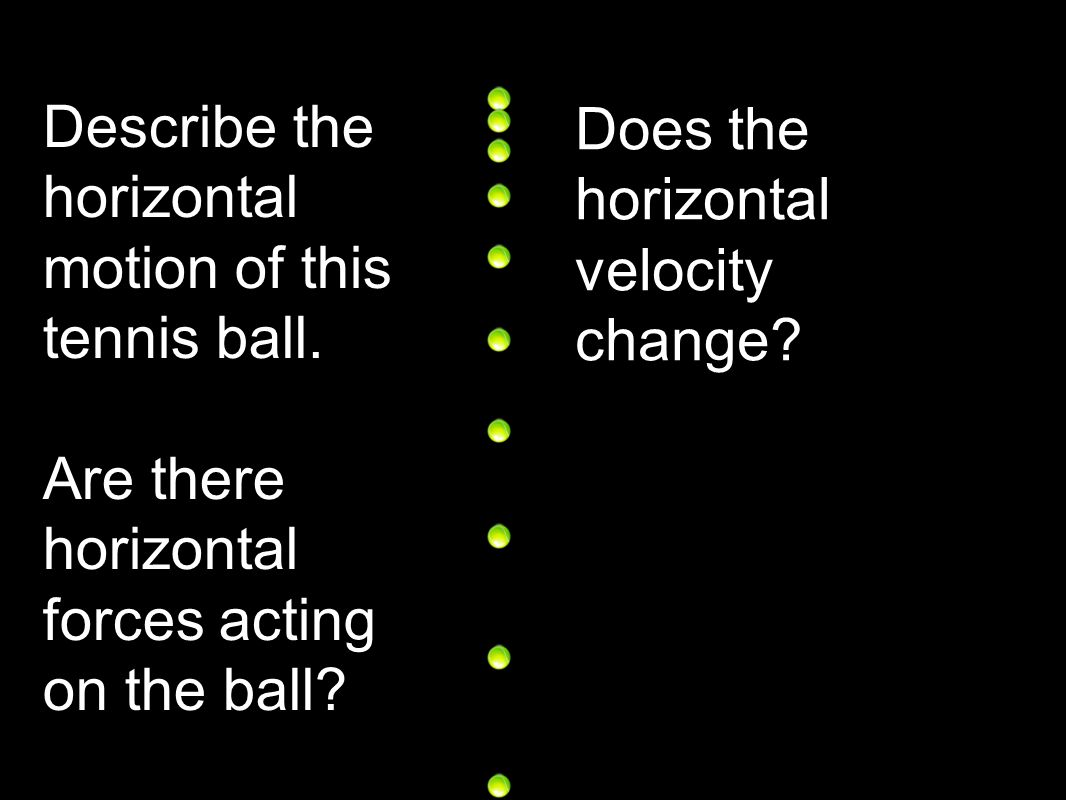 Describe the horizontal motion of this tennis ball.