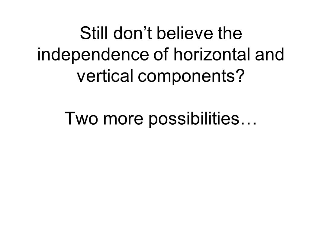 Still don't believe the independence of horizontal and vertical components Two more possibilities…