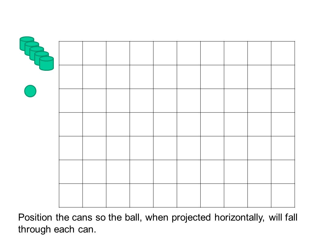 Position the cans so the ball, when projected horizontally, will fall through each can.