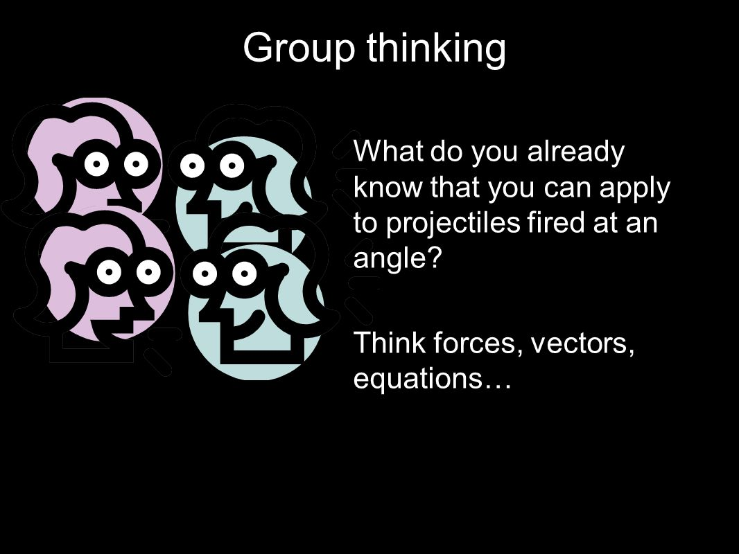 Group thinking What do you already know that you can apply to projectiles fired at an angle.