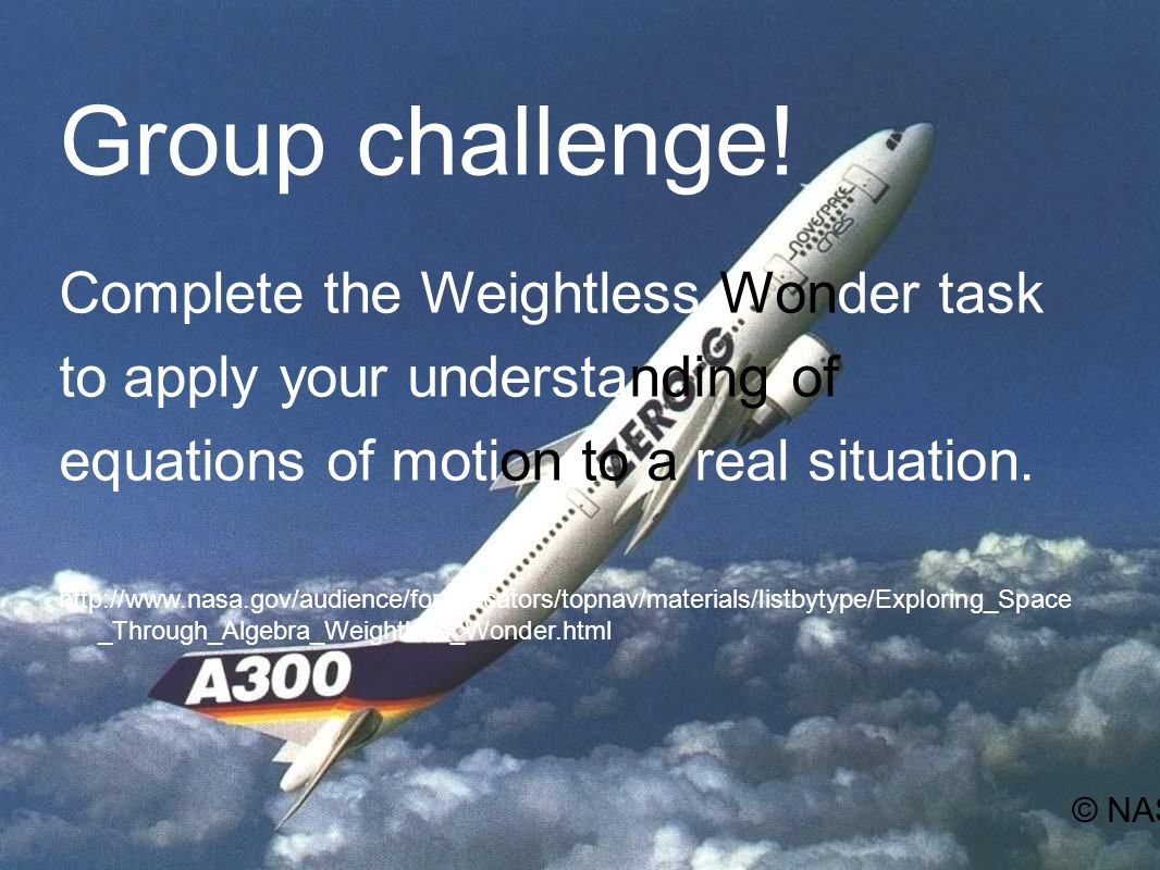 Group challenge! Complete the Weightless Wonder task