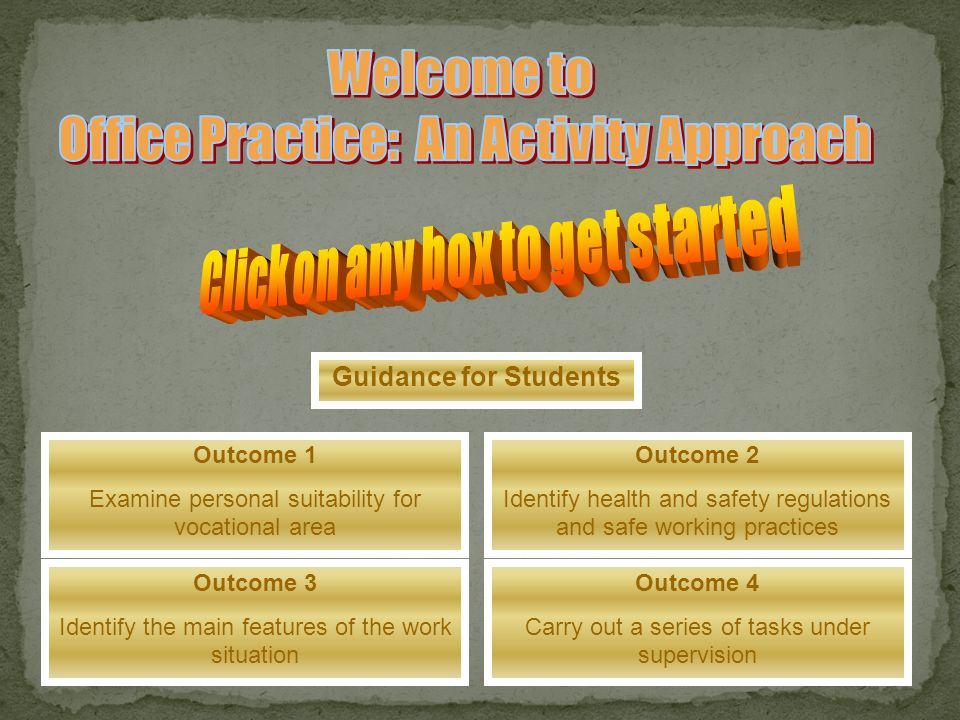 Office Practice: An Activity Approach Click on any box to get started