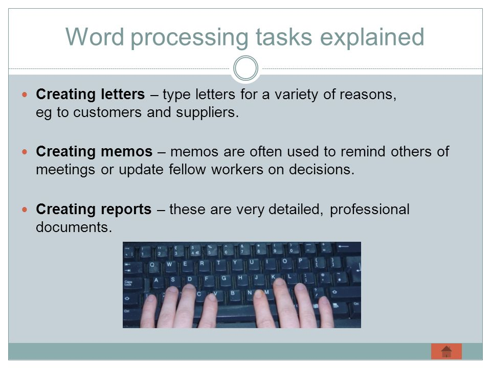 Word processing tasks explained