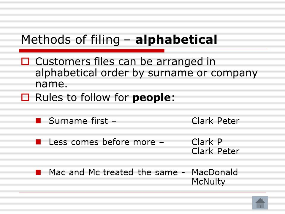 Methods of filing – alphabetical