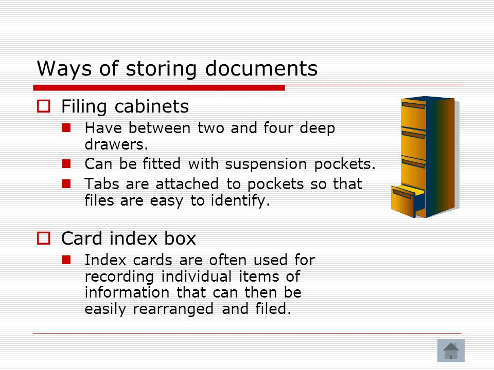 Ways of storing documents
