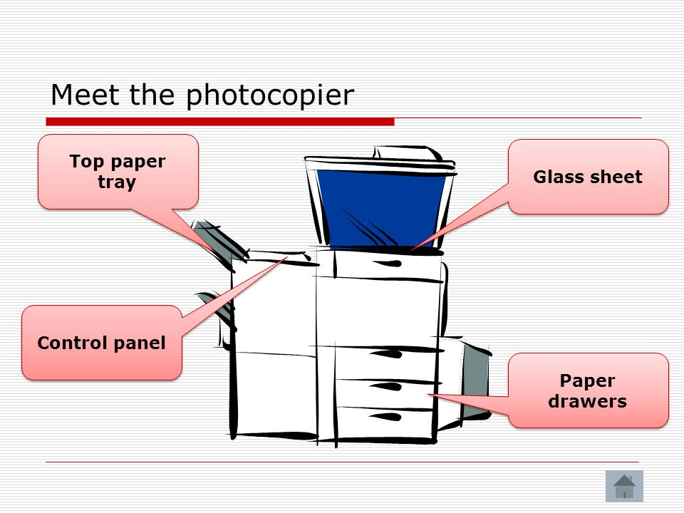 Meet the photocopier Top paper tray Glass sheet Control panel