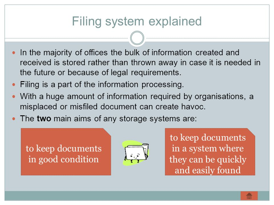 Filing system explained