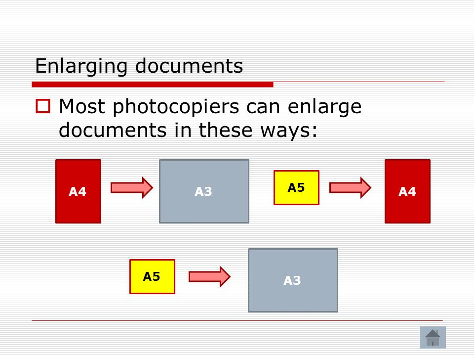 Most photocopiers can enlarge documents in these ways:
