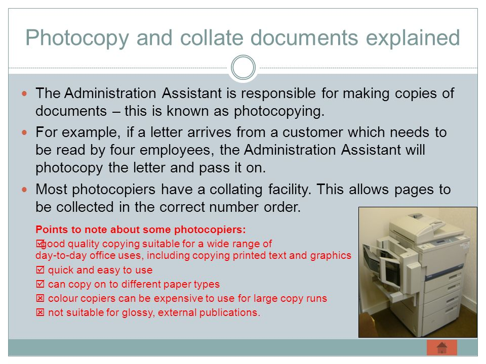 Photocopy and collate documents explained