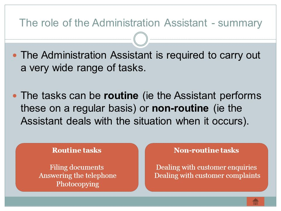 The role of the Administration Assistant - summary