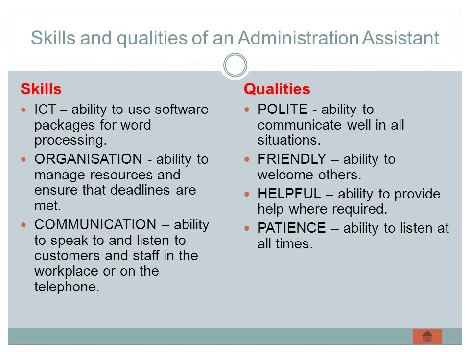 Skills and qualities of an Administration Assistant
