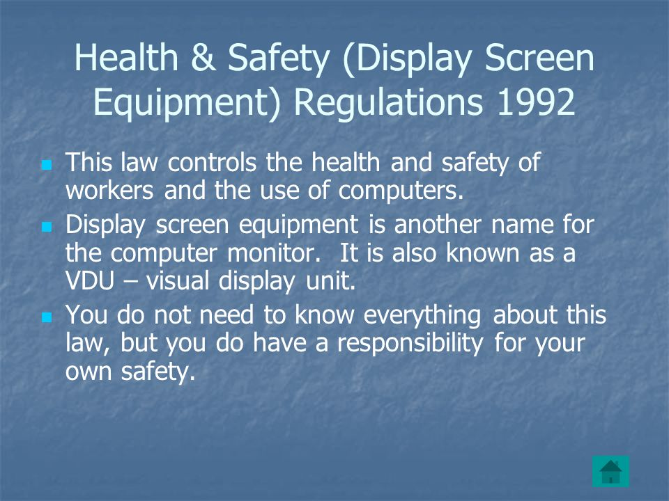 Health & Safety (Display Screen Equipment) Regulations 1992