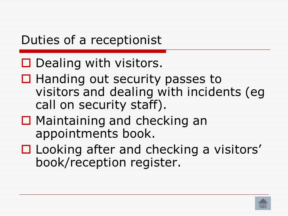 Duties of a receptionist
