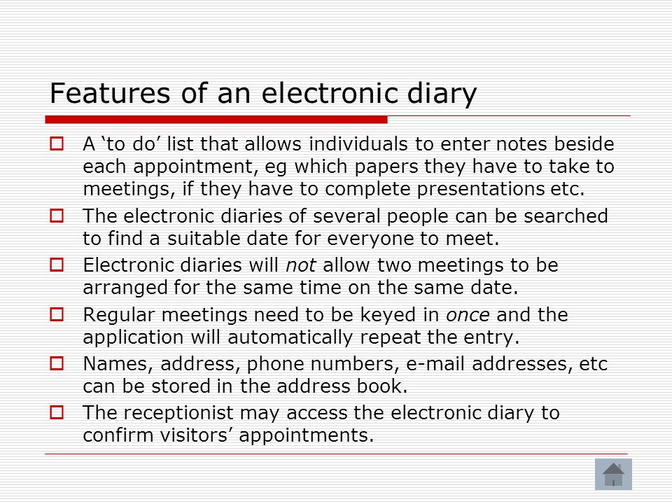 Features of an electronic diary