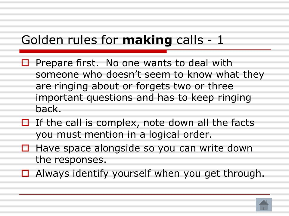 Golden rules for making calls - 1