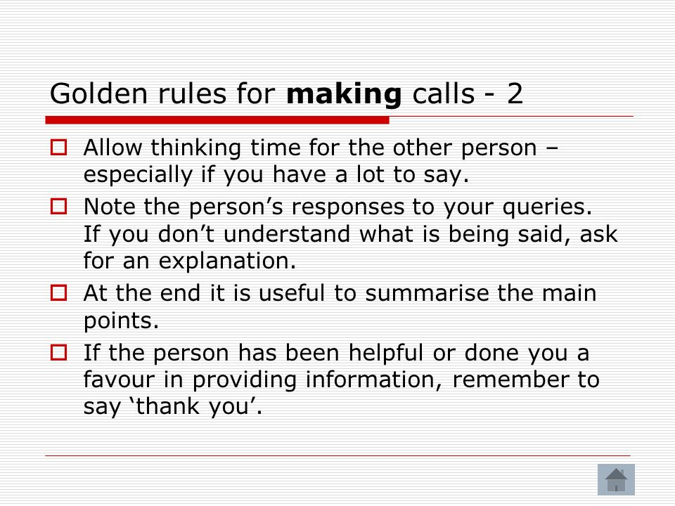Golden rules for making calls - 2
