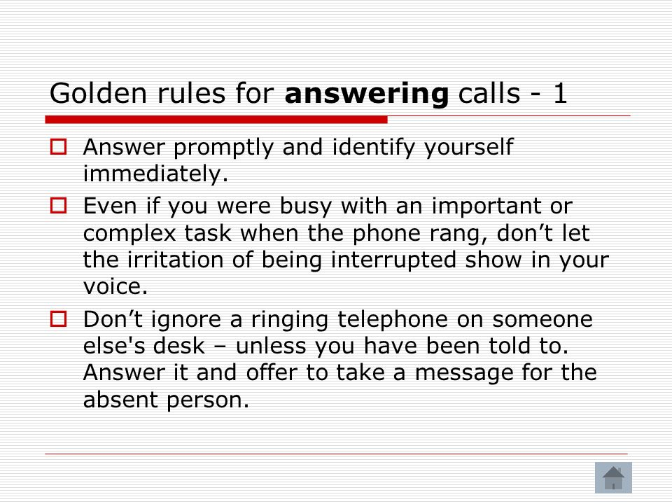 Golden rules for answering calls - 1
