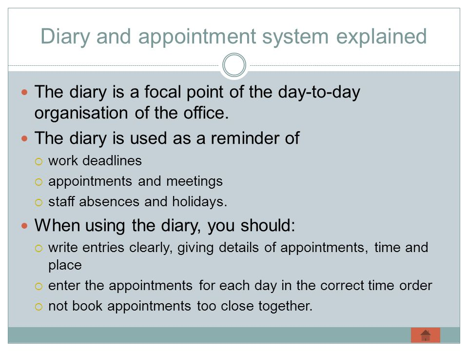 Diary and appointment system explained