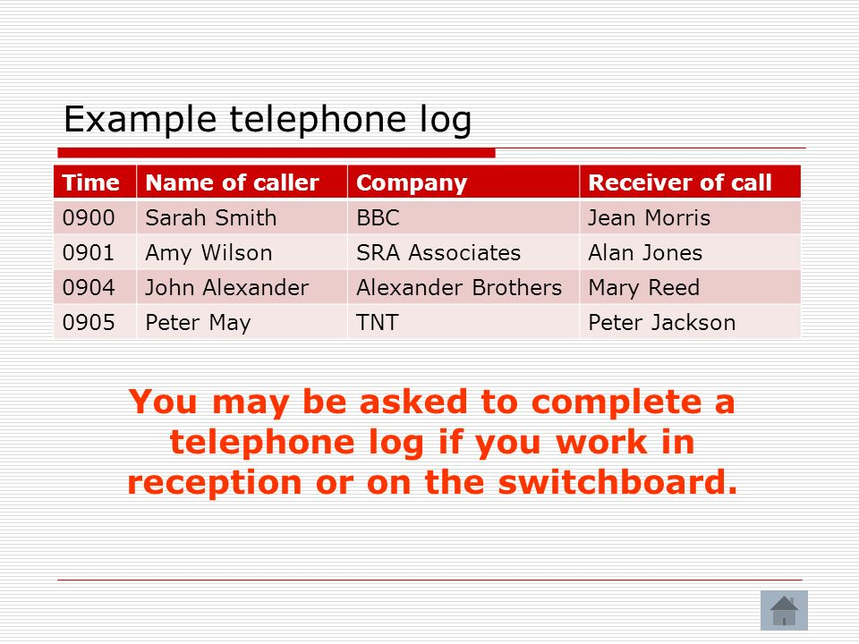 Example telephone log You may be asked to complete a