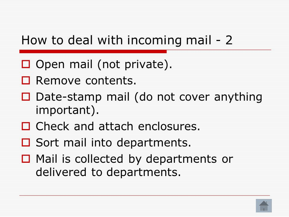 How to deal with incoming mail - 2