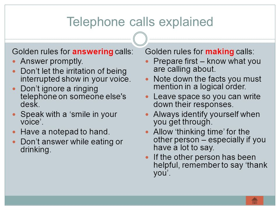 Telephone calls explained