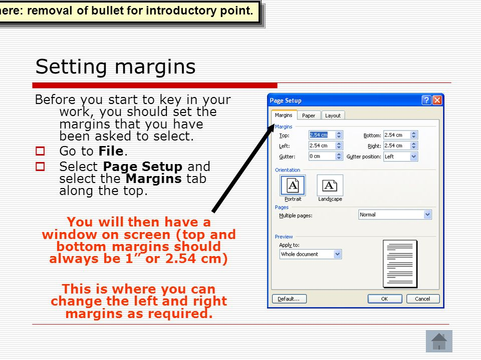 This is where you can change the left and right margins as required.