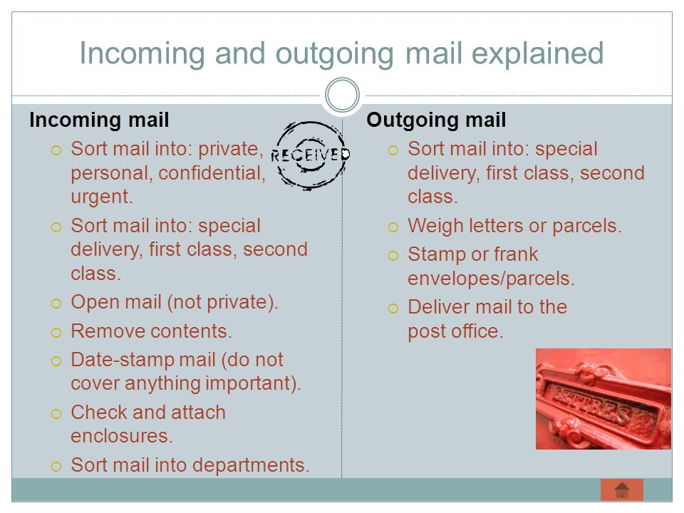 Incoming and outgoing mail explained