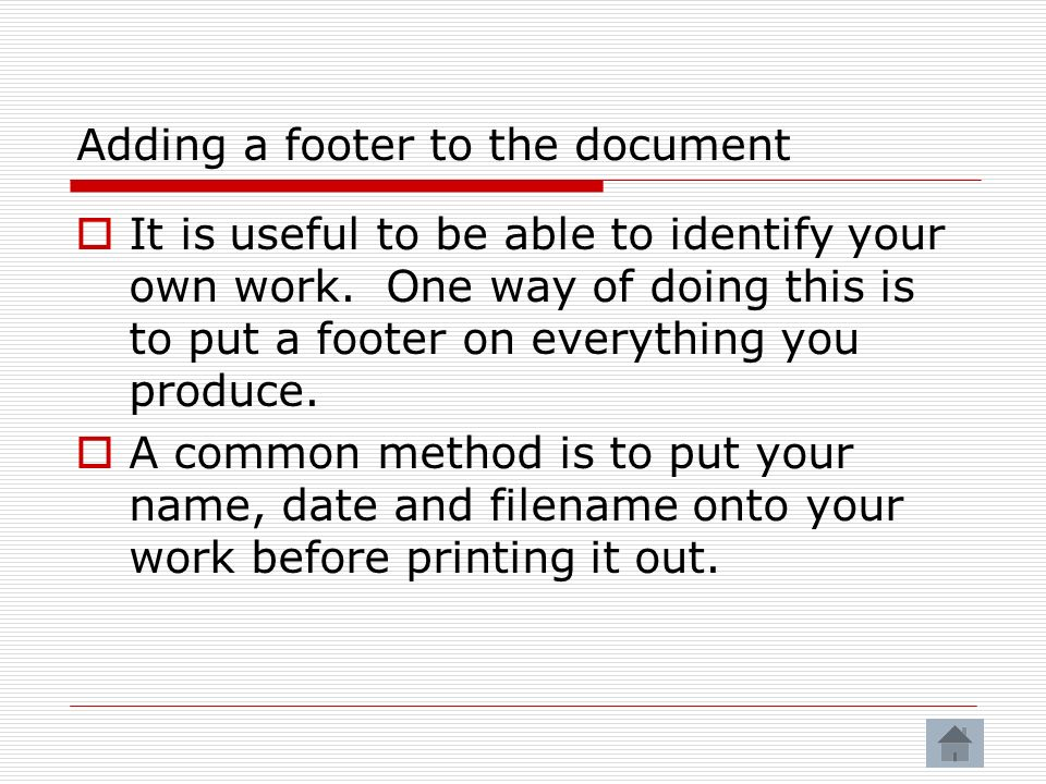 Adding a footer to the document