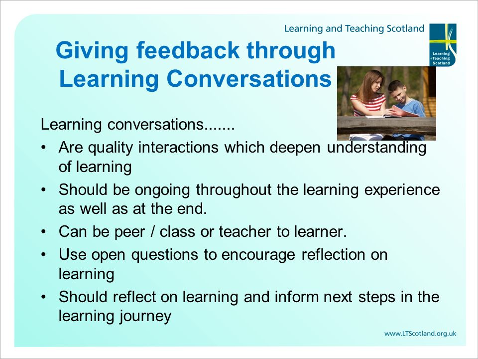 Giving feedback through Learning Conversations