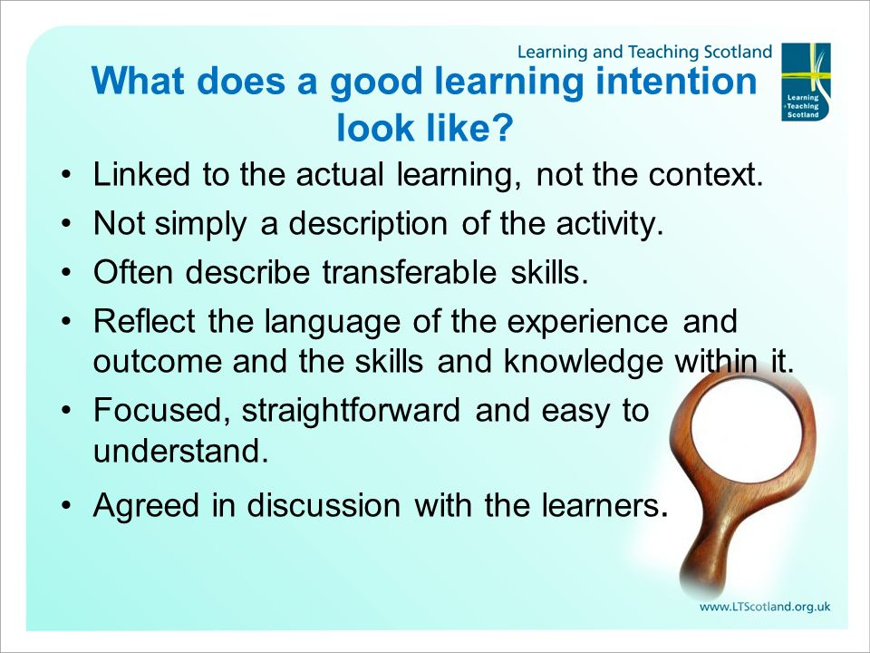 What does a good learning intention look like